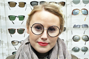 vintage eyewear: 1970s black plastic and gold metal frame MADE IN ENGLAND